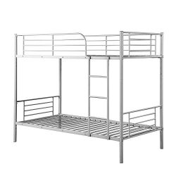 Steel Bunk Bed Twin Over Twin,JULYFOX Modern Metal Steel Bed Frame 550 lb Heavy Duty W/Stairs Si ...