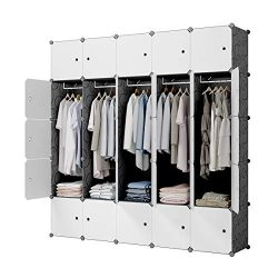 KOUSI Portable Closet Wardrobe Closet Clothes Closet Bedroom Armoire Storage Organizer with Door ...