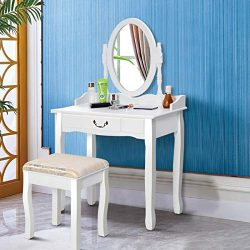 Giantex White Vanity Table Set with Stool, Dressing Table for Girls Women Mirror Makeup Table De ...