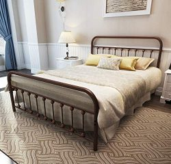 TEMMER Metal Bed Frame Queen Size with Headboard and Footboard Single Platform Mattress Base,Met ...
