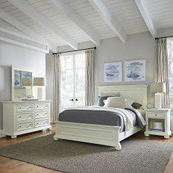 Home Styles 5427-5023 Dover Queen Bed with Nightstand and Dresser & Mirror Antique White
