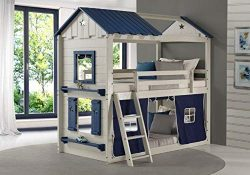 DONCO 1580-TTLGB Twin Star Gaze Bunk Bed BUNKBED Twin/Twin Light Grey/Blue