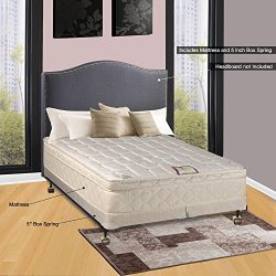 Spinal Solution, 10-Inch Plush Medium Eurotop Pillowtop Innerspring Mattress And 4-Inch Split Wo ...