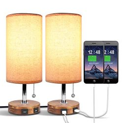 Dual USB Table Desk Lamp, Bedside Nightstand Lamp, Solid Wood Unique Lampshde,Convenient Pull Ch ...