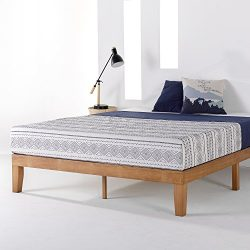 Mellow 12″ Classic Soild Wood Platform Bed Frame w/Wooden Slats (No Box Spring Needed) Que ...