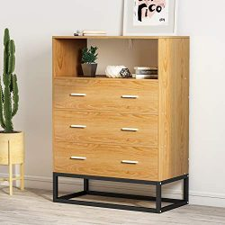 3-Drawer Chest, LITTLE TREE Drawer Dresser with Open Storage, Works as File Cabinet, Office Cabi ...