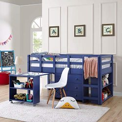 Naomi Home Low Study Loft Bed Navy/Twin