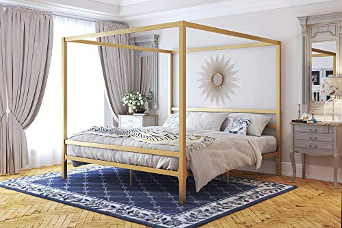 DHP 4073349 Modern Canopy Gold Metal, King Loft Bed