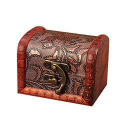 Wabaodan 1pc Vintage Wooden Handmade Jewelry Box With Mini Metal Lock Jewelry Holder Storage Nec ...