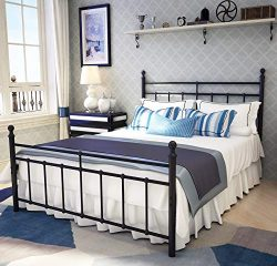 Metal Bed Frame Full Size with Vintage Headboard and Footboard Platform Base Wrought Iron Double ...