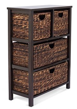 BIRDROCK HOME Seagrass Cubby Dresser | 4 Drawer Bins | Decorative Wood Storage Cubbies Shelf Org ...