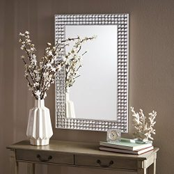 Christopher Knight Home 303525 Frida Rectangular Bubble Detailed Wall Mirror Clear