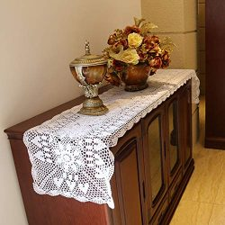 Damanni Rectangular Cotton Handmade Crochet Lace Table Runner Doilies Table Dresser Scarf Décor, ...