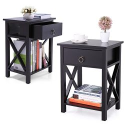 JAXPETY Set of 2 Black Finish X-Design Side End Table Night Stand Storage Shelf w/Bin