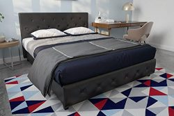 DHP Dakota Faux Leather Upholstered Platform Bed Frame with Signature Sleep Memoir 10-Inch Memor ...