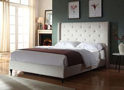 Home Life Premiere Classics Cloth Light Beige Cream Linen 51″ Tall Headboard Platform Bed  ...
