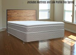 Spinal Solution, 10-Inch Plush Medium Eurotop Pillowtop Innerspring Mattress And 4-Inch Wood Tra ...