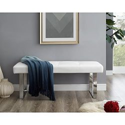 Oliver White PU Leather Bench – Stainless Steel Legs   Tufted   Living-Room, Entryway, Bed ...