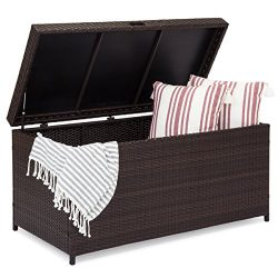 Best Choice Products Outdoor Wicker Patio Furniture Deck Storage Box for Cushions, Pillows, Pool ...