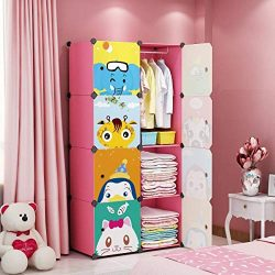 MAGINELS Children Wardrobe Kid Dresser Cute Baby Portable Closet Bedroom Armoire Clothes Hanging ...