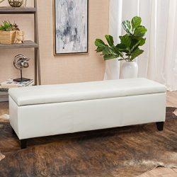 Skyler Off-White Leather Storage Ottoman Bench