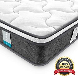 Inofia Sleeping 8 inch Hybrid Comfort Eurotop Innerspring Mattress- Plush Yet Supportive-Pressur ...