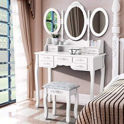 huisenus Rustic Makeup Vanity Table Set Simple Modern Dressing Table Set with7 Drawers and Organ ...