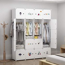 GEORGE&DANIS Portable Wardrobe Plastic Modular Closet Organization Customizable Cube Storage ...