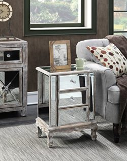 Convenience Concepts Gold Coast Collection 3-Drawer Mirrored End Table, Weathered White/Mirror