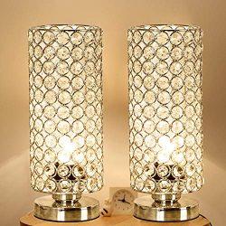 Focondot Crystal Table Lamp, Decorative Nightstand Room Lamps, Bedside Night Light Lamp, Fashion ...