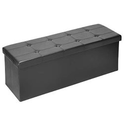 AMOOLY XL Faux Leather Folding Storage Ottoman Bench, 43 inch Storage Chest Footrest Padded Seat ...