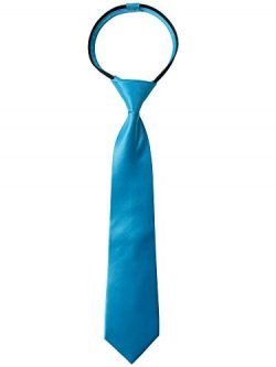Spring Notion Boys' Satin Zipper Neck Tie with Gift Box X-Large Turquoise