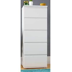 Lingerie Chest of Drawers White Slim Storage Chest 5-Drawer Dresser for Bedroom Contemporary Mod ...