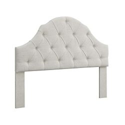 Ravenna Home Wolcott Adjustable Height Arched Tufted Headboard, King or California King, Cream