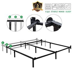 HAAGEEP Queen Size Bed Frame for Box Spring and Mattress Set Adjustable Full Beds King Frames Me ...
