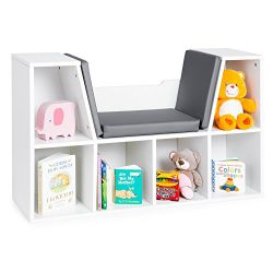 Best Choice Products Multi-Purpose 6-Cubby Kids Bedroom Storage Organizer Bookcase w/Cushioned R ...