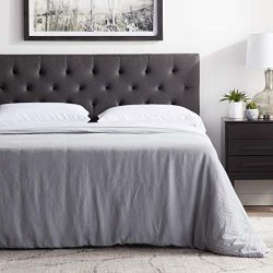 "LUCID Mid-Rise Upholstered Headboard – Adjustable Height from 34"" to 46"" – Queen  ..."