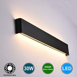 Aipsun 30W/32.6in Indoor Modern Rectangular LED Wall Mount Sconce Up and Down Wall Lamp Vanity b ...