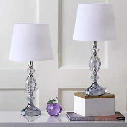Pauwer Modern Clear Crystal Table Lamps Set of 2 Bedroom Living Room Bedside 19-inch Chrome Tabl ...