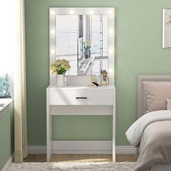 Tribesigns Vanity Set with Lighted Mirror, Makeup Vanity Dressing Table Dresser Desk for Bedroom ...
