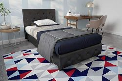 DHP Dakota Upholstered Faux Leather Platform Bed with Wooden Slat Support and Tufted Headboard a ...
