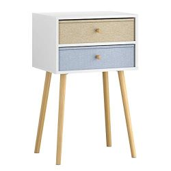 LANGRIA Bedside Table Nightstand End Table with Fabric Storage Drawer Pine Wooden Table for Bedr ...