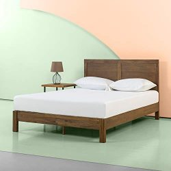 Zinus 12 Inch Acacia Wood Platform Bed with Headboard / No Boxspring Needed / Wood slat, Queen