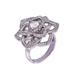 WILLTOO❤️❤️ Stylish and Luxurious Diamond/Heart Shaped Rose Crystal Flower Rings ❤️❤️