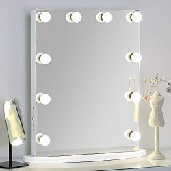 MissMii Flameless Hollywood Lighted Makeup Vanity Mirror with Lights,Tabletop or Wall Mirrors fo ...