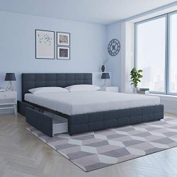 DHP 4331649 Rose Upholstered, Blue Linen-King Bed with Storage