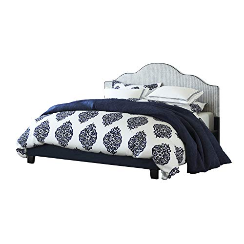 Embassy Cal King Upholstered Bed in Midnight Blue with Arch Curved, Padded Headboard, And Platfo ...