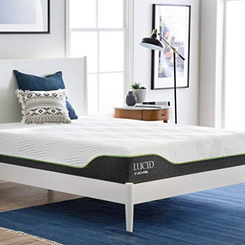 LUCID 10 Inch Twin Latex Hybrid Mattress – Cooling Gel Memory Foam – Responsive Late ...