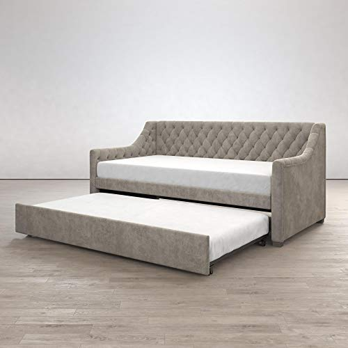 Little Seeds 4336439LS Monarch Hill Ambrosia Upholstered, Light Grey Velvet, Twin Daybed and Tru ...