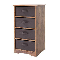 Iwell Wooden Dresser Storage Tower with 4 Easy Pull Fabric Drawers, 16.77″ L × 16.77″ ...